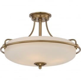 Quoizel Griffin 4 Light Semi-Flush Ceiling Fitting in Weathered Brass Finish