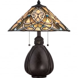 Quoizel India 2 Light Table Lamp In Imperial Bronze Finish With Tiffany Glass Shade