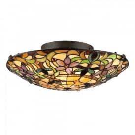Quoizel Kami 2 Light Semi Flush Ceiling Fitting In Vintage Bronze Finish And Tiffany Glass Shade