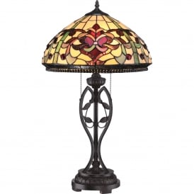 Quoizel Kings Pointe 2 Light Table Lamp In Imperial Bronze Finish With Tiffany Glass Shade