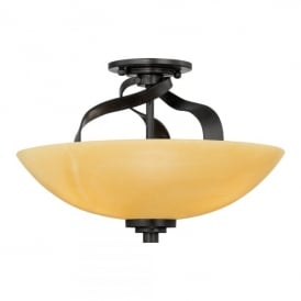 Quoizel Kyle 3 Light Semi Flush Ceiling Fitting In Imperial Bronze Finish