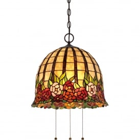 Quoizel Rosecliffe 3 Light Semi Flush Ceiling Fitting In Imperial Bronze Finish And Tiffany Glass Shade