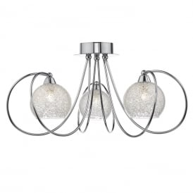 Rafferty 3 Light Semi Flush Ceiling Pendant In Polished Chrome Finish