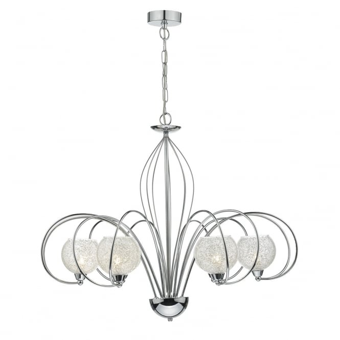 Dar Lighting Rafferty 6 Light Dual Mount Ceiling Pendant In Polished Chrome Finish