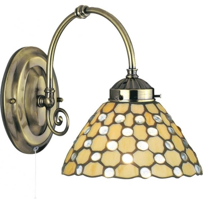 Searchlight Lighting Raindrop Single Light Switched Tiffany Wall Fitting with Clear Glass Detail ...