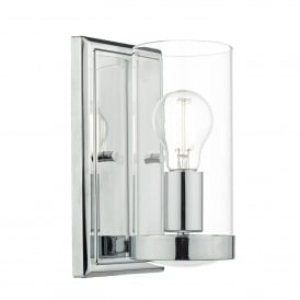 Ramiro Single Light Wall Fitting in Polished Chrome Finish with Glass