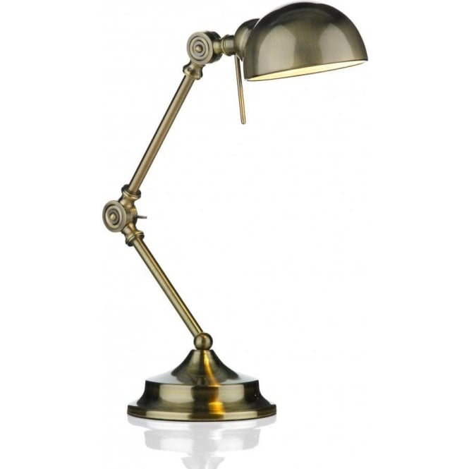 Dar Lighting Ranger Single Light Desk Lamp in an Antique Brass Finish