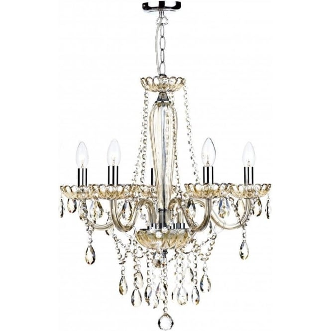Dar Lighting Raphael 5 Light Chandelier with Champagne Glass Frame