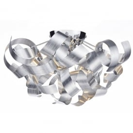 Rawley 4 Light Semi-Flush Ceiling Fixture with Brushed Metal Ribbons