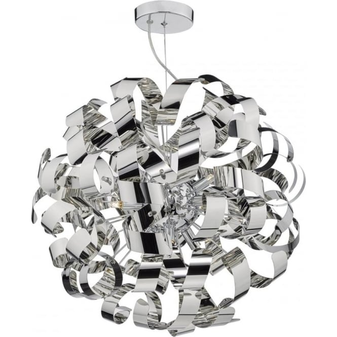 Dar Lighting Rawley 9 Light Ceiling Pendant in Polished Chrome Metal Ribbons