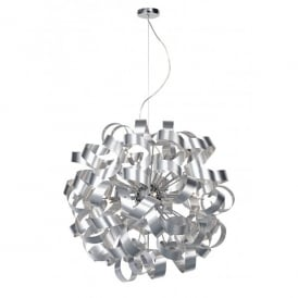 Rawley Large 12 Light Ceiling Pendant with Brushed Metal Ribbons