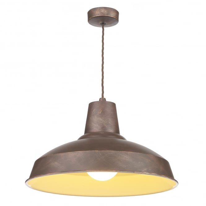 David Hunt Lighting Reclamation Single Light Ceiling Pendant in Weathered Bronze Finish