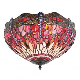 Red Dragonfly 2 Light Flush Tiffany Ceiling Fitting with Dark Bronze Finish