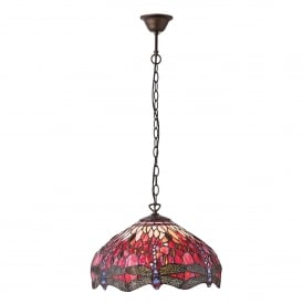Red Dragonfly 3 Light Medium Tiffany Ceiling Pendant with Dark Bronze Finish