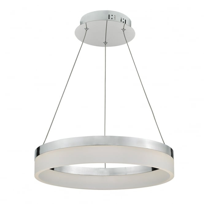 Dar Lighting Reeve Single Light LED Ceiling Pendant In Aluminium And White Acrylic Finish