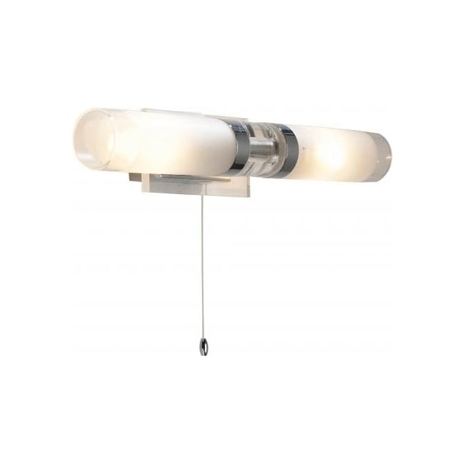 Dar Lighting Reflex Double Light Bathroom Wall Fitting in Polished Chrome Finish