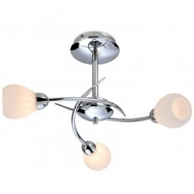 Rena 3 Light Semi Flush Ceiling Multi Arm in Polished Chrome Finish with Opal Glass Shades