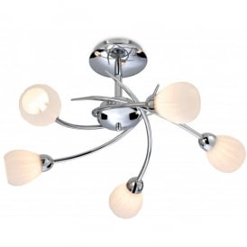 Rena 5 Light Ceiling Fitting in Polished Chrome Finish with Opal Glass Shades