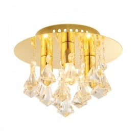Renner 3 Light Semi-Flush Ceiling Fitting In Gold Plate Finish With Champagne Crystal Glass