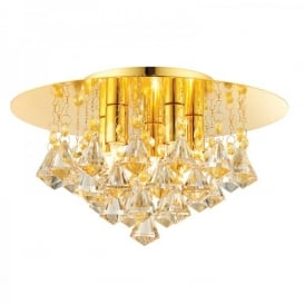 Renner Medium 5 Light Semi-Flush Ceiling Fitting In Gold Plate Finish With Champagne Crystal Glass