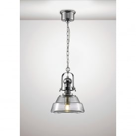 Reyna Single Light Small Ceiling Pendant In Polished Chrome And Clear Glass Finish