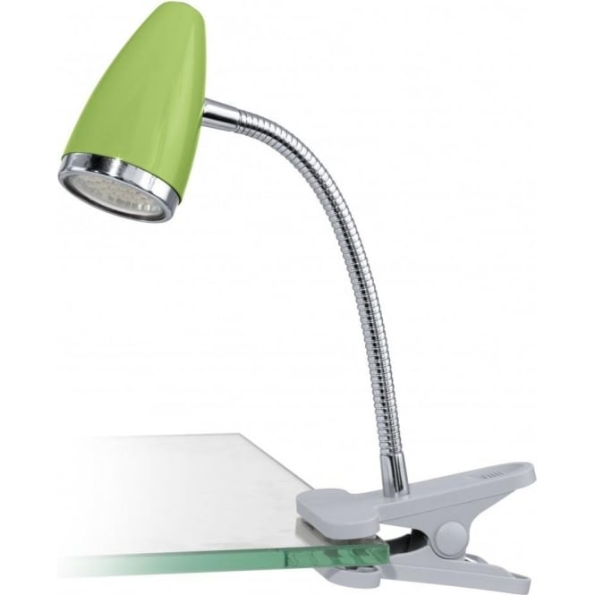 Eglo Lighting Riccio 1 Single Light Led Clip On Table Lamp In Green And Polished Chr