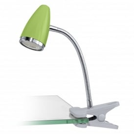 Riccio 1 Single Light LED Clip On Table Lamp In Green And Polished Chrome Finish