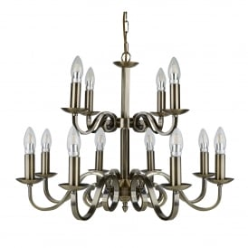 Richmond 12 Light Ceiling Fitting In Antique Brass Finish With Candle Style Sconces