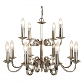Richmond 12 Light Ceiling Fitting In Satin Silver Finish With Candle Style Sconces
