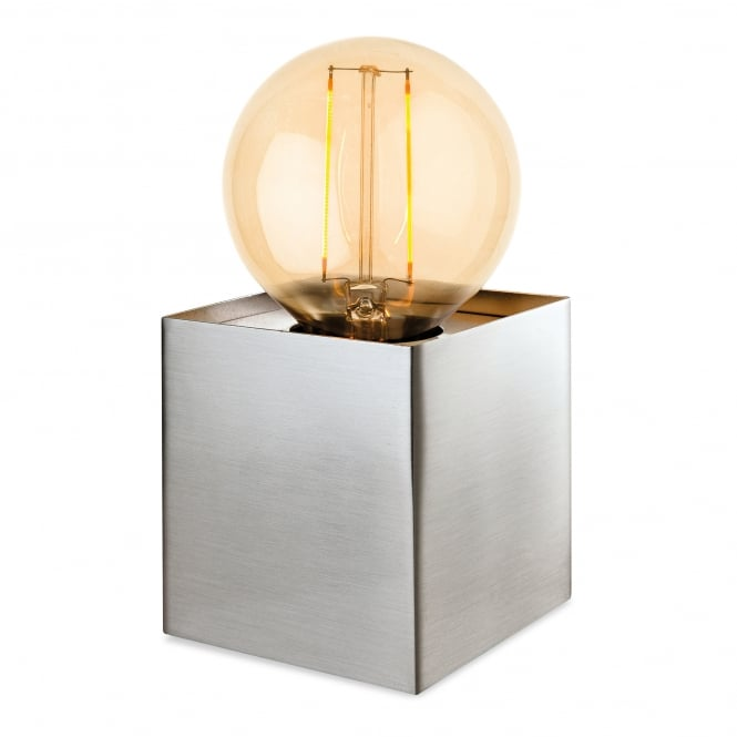 Firstlight Richmond Single Light Table Lamp In Brushed Steel Finish With LED Vintage Style Lamp