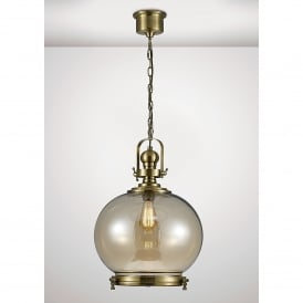 Riley Single Light Large Ceiling Pendant In Antique Brass And Round Shaped Glass Shade