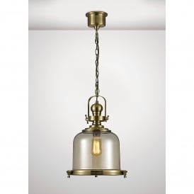 Riley Single Light Medium Ceiling Pendant In Antique Brass And Bell Shaped Glass Shade