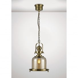 Riley Single Light Small Ceiling Pendant In Antique Brass And Bell Shaped Glass Shade