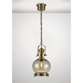 Riley Single Light Small Ceiling Pendant In Antique Brass And Round Shaped Glass Shade