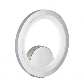 Ring Single Light LED Wall Fitting In Polished Chrome Finish With Frosted Acrylic Light Diffuser