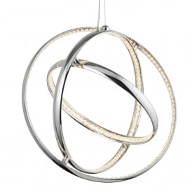 Rings LED 3 Light Ceiling Pendant In Polished Chrome Finish