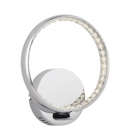 Rings LED Wall Fitting In Polished Chrome And Clear Crystal Finish