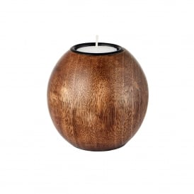 Ripley Small Tealight Holder in Solid Dark Wood Finish