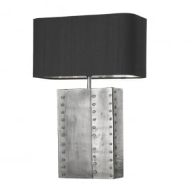 Rivet Single Light Table Lamp in Pewter Chrome Finish with Ivory 100% Silk Shade