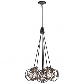 Rocklyn 6 Light Ceiling Cluster Pendant in Raw Steel Finish