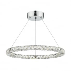 Roma Single Light LED Ceiling Pendant In Polished Chrome And Crystal Finish