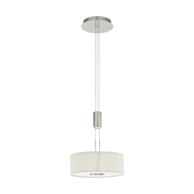 Romao 1 LED Rise And Fall Ceiling Pendant In Satin Nickel Finish With Natural Linen Shade