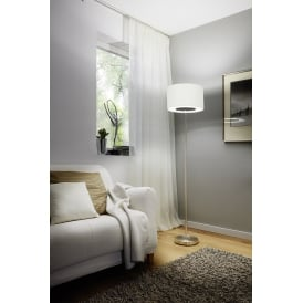 Romao 1 LED Touch Operated Floor Lamp In Satin Nickel Finish With Natural Linen Shade