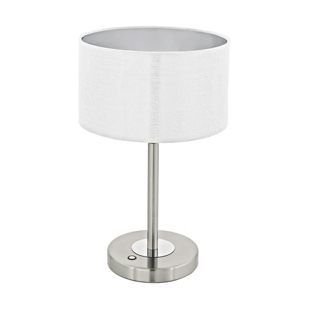 eglo lighting romao 1 led touch operated table lamp in satin nickel finish with natural linen. Black Bedroom Furniture Sets. Home Design Ideas