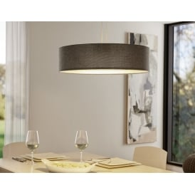 Romao 2 LED Large Rise And Fall Ceiling Pendant In Satin Nickel Finish With Brown Linen Shade