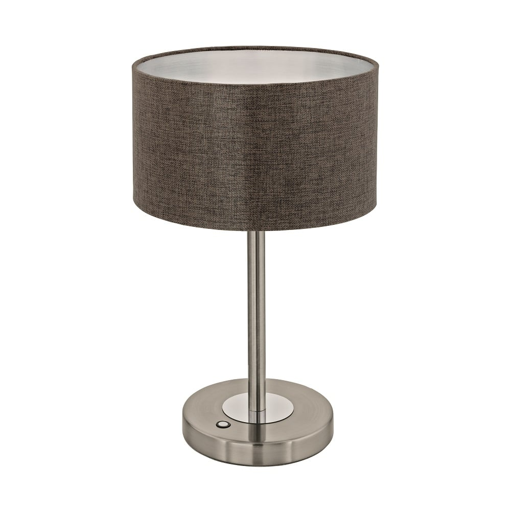 eglo lighting romao 2 led touch operated table lamp in satin nickel finish with brown linen. Black Bedroom Furniture Sets. Home Design Ideas