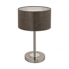 Romao 2 LED Touch Operated Table Lamp In Satin Nickel Finish With Brown Linen Shade