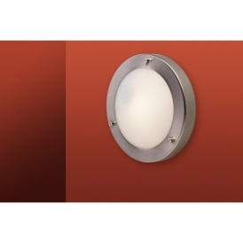 Rondo Single Light Wall Lamp in Brushed Steel with Opal Glass