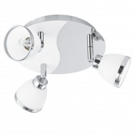 Rosello 3 Light Halogen Ceiling Fitting In Polished Chrome And White Glass Finish