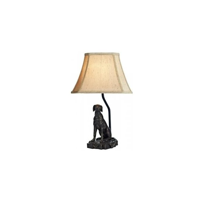 Dar Lighting Rover Single Light Bronze Table Lamp with Gold Faux Silk Shade